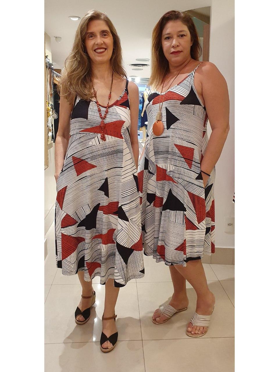 Vestido Longuete Malha Estampada em 2 Cores