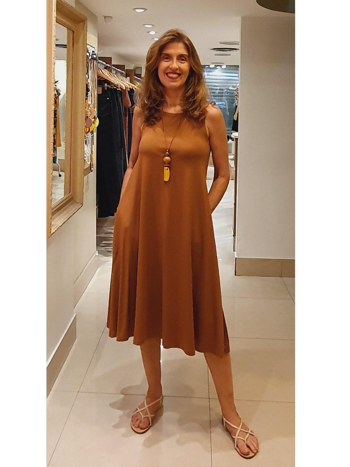 Vestido Longuete Malha Lisa em 10 Cores - Paula