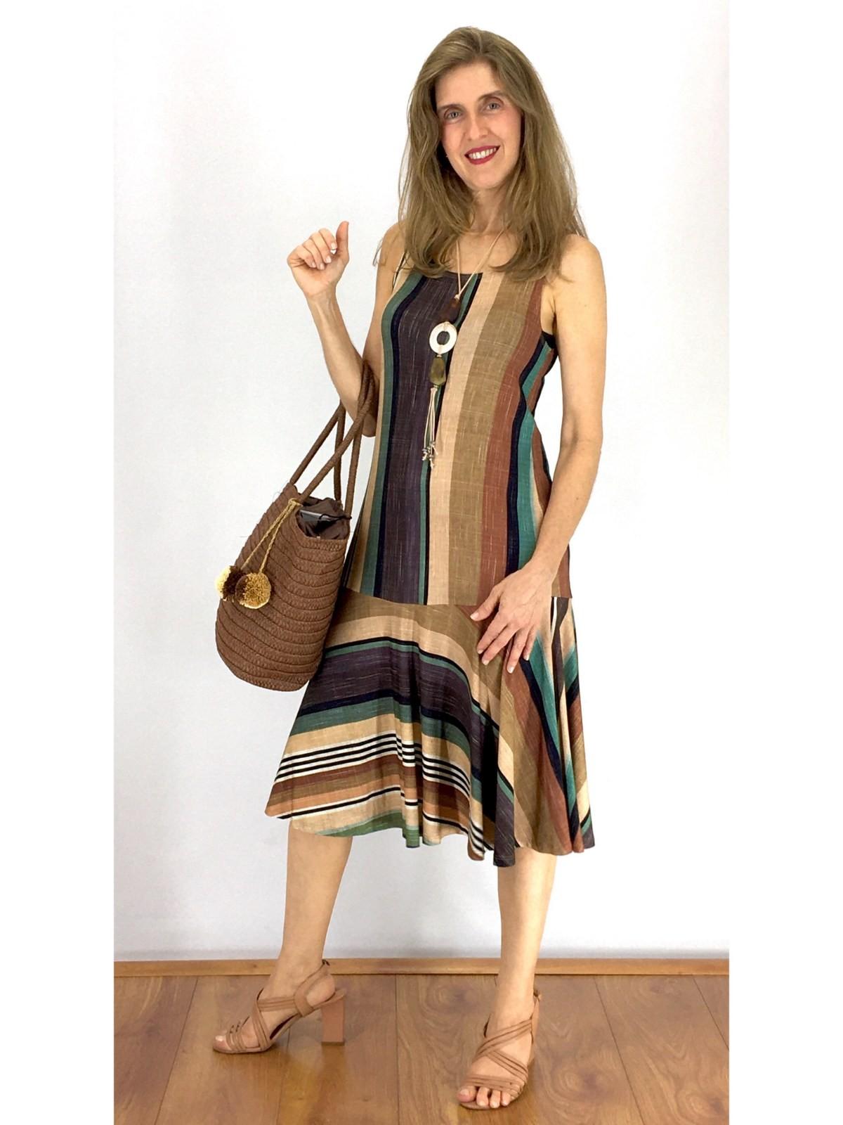 Vestido Longuete Malha Listrado