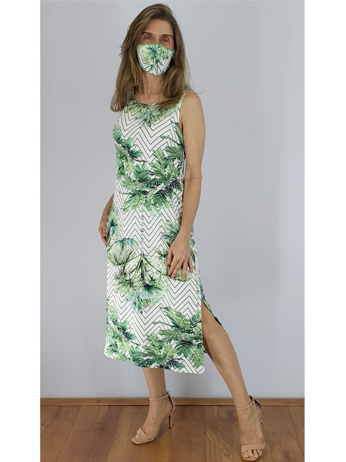 Vestido Malha Digital Estampado em 2 Cores