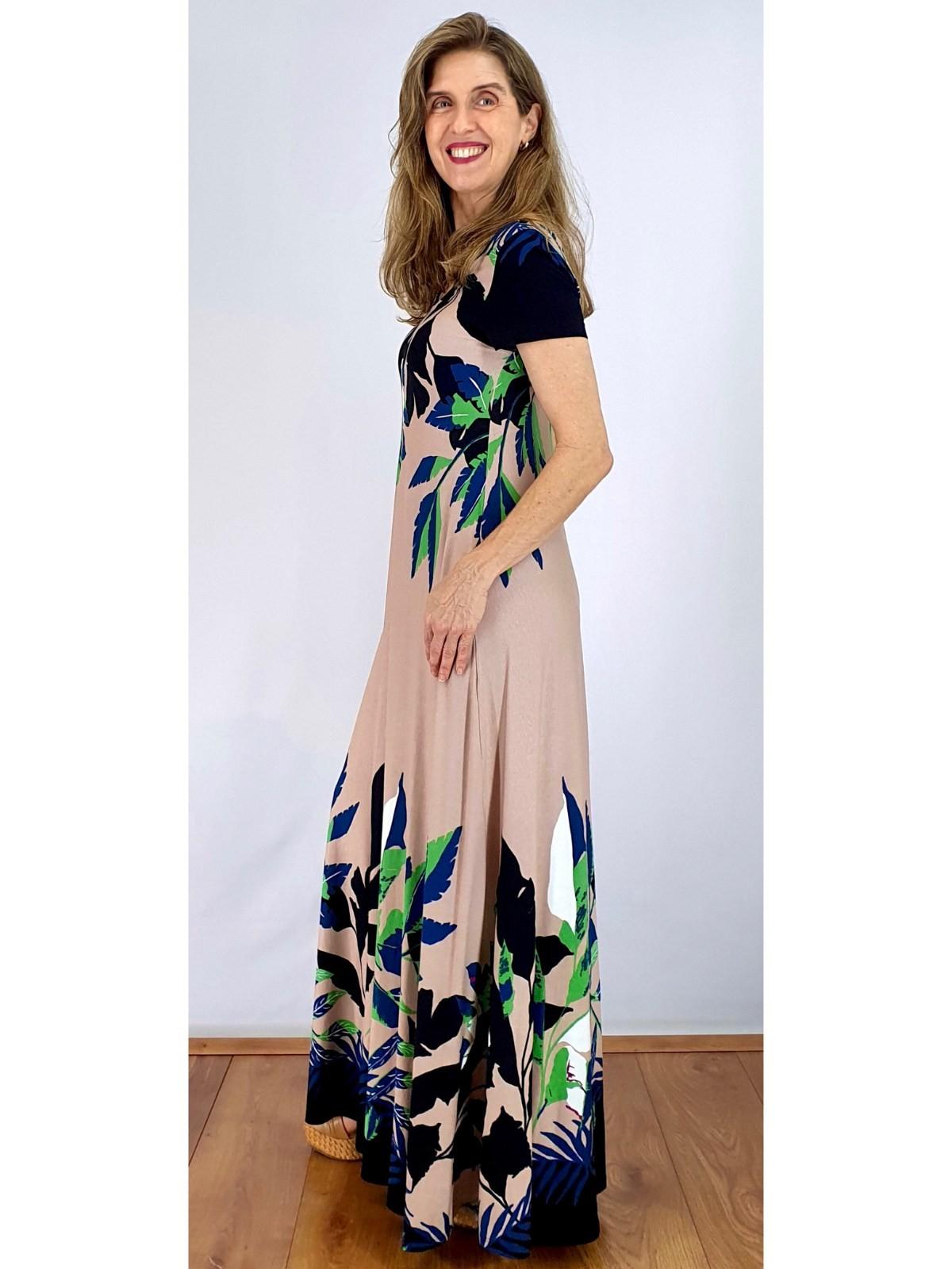 Vestido Malha Longo Estampado