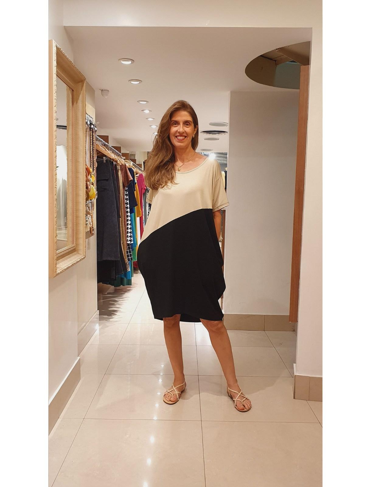 Vestido Malha Bicolor Laura