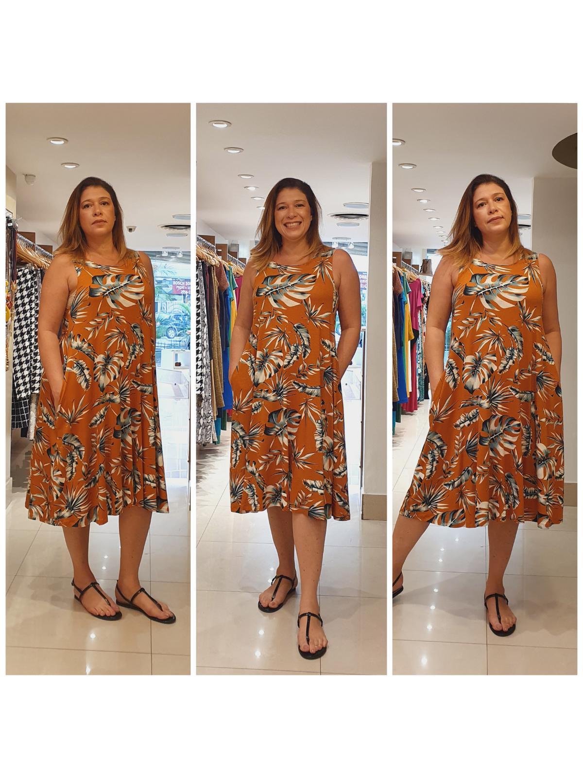 Vestido Midi Malha Estampada Paula