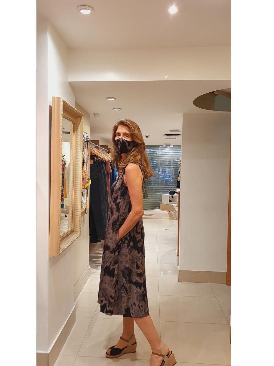 Vestido Midi Malha Estampada Tie Dye