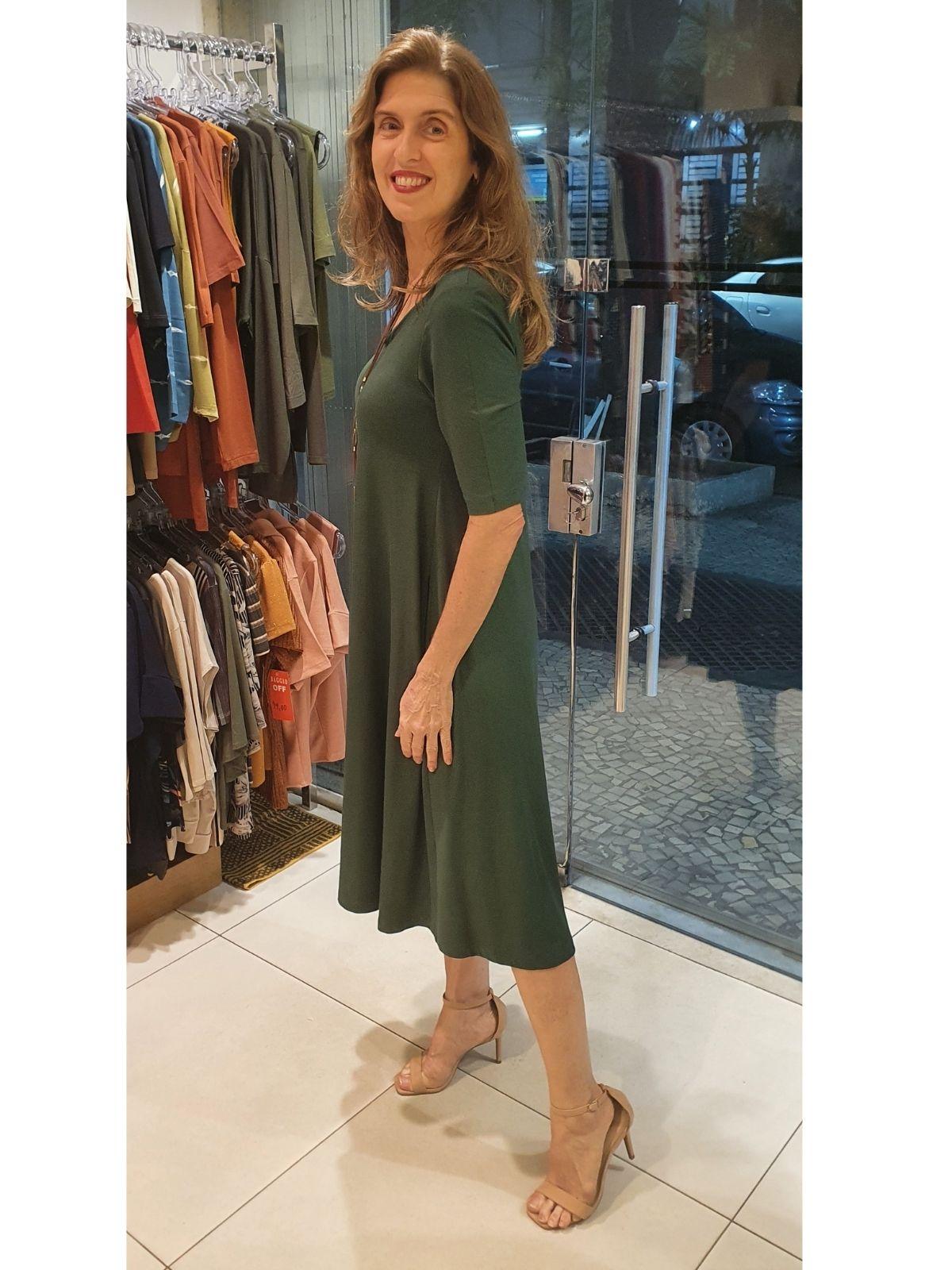 Vestido Carla 2  com bolsos em viscolycra premium 235 gr