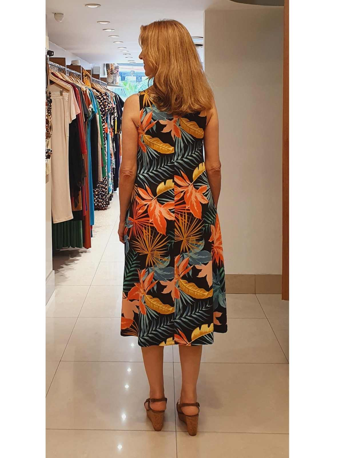 Vestido Paula em Malha Viscolycra com Estampa Pigmento