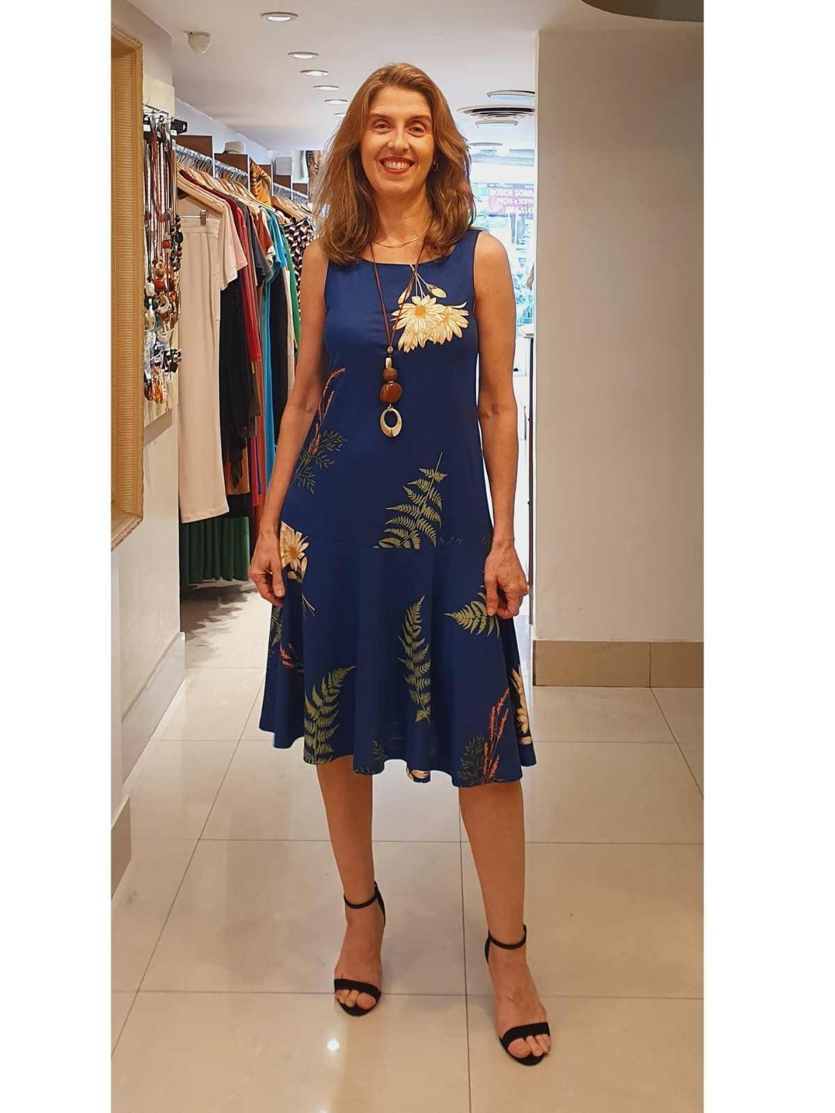 Vestido Sandra em Malha Viscolycra com Estampa Pigmento