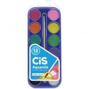 Aquarela Escolar Estojo com Pastilhas de Tintas c/ 12 Cores, Mais 1 Pincel Artístico - Cis