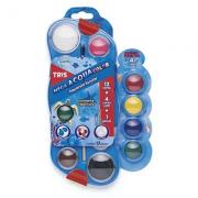 Aquarela Escolar Mega Acqua Color c/ 12 Cores + 4 Cores Refil + 1 Pincel - Tris