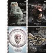 Caderno universitário capa dura 10X1 200FL  Animais Fantásticos - Jandaia