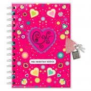 Diário com chave Coração pink - Fina Ideia