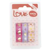 Kit Fita Adesiva Washi Tape Love com 3 Unidades