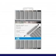 Marcador Artístico Graf Duo Brush Tons De Cinza Cis 6 Cores