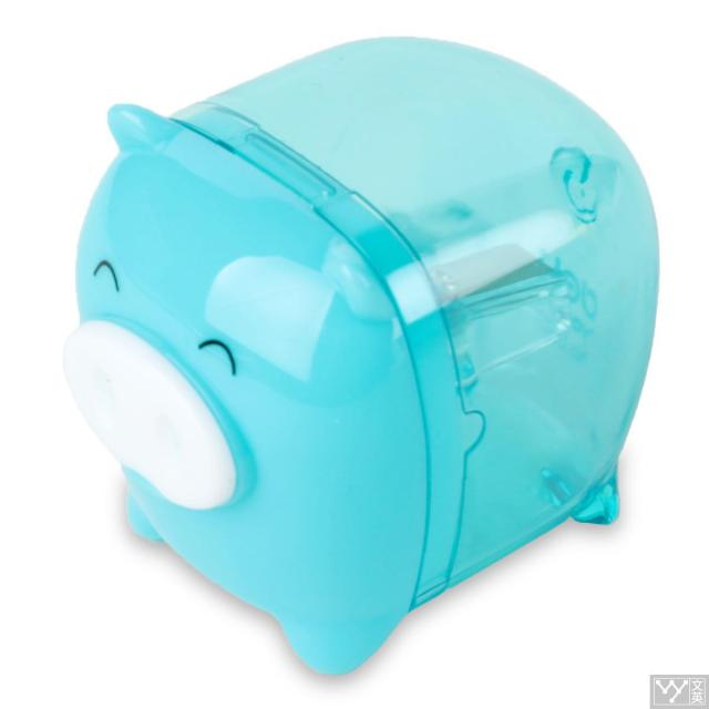 Apontador De Lápis Mini Porco azul
