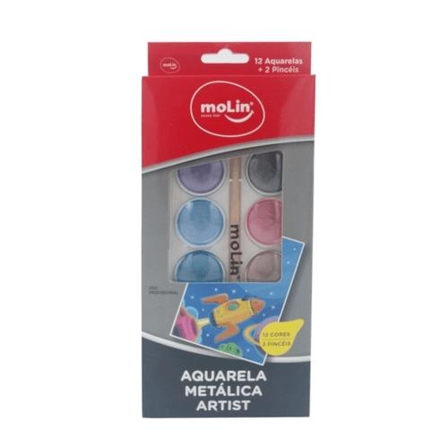 Aquarela Metálica Com Water Brush E Pincel Estojo c/ 12 Cores - Molin