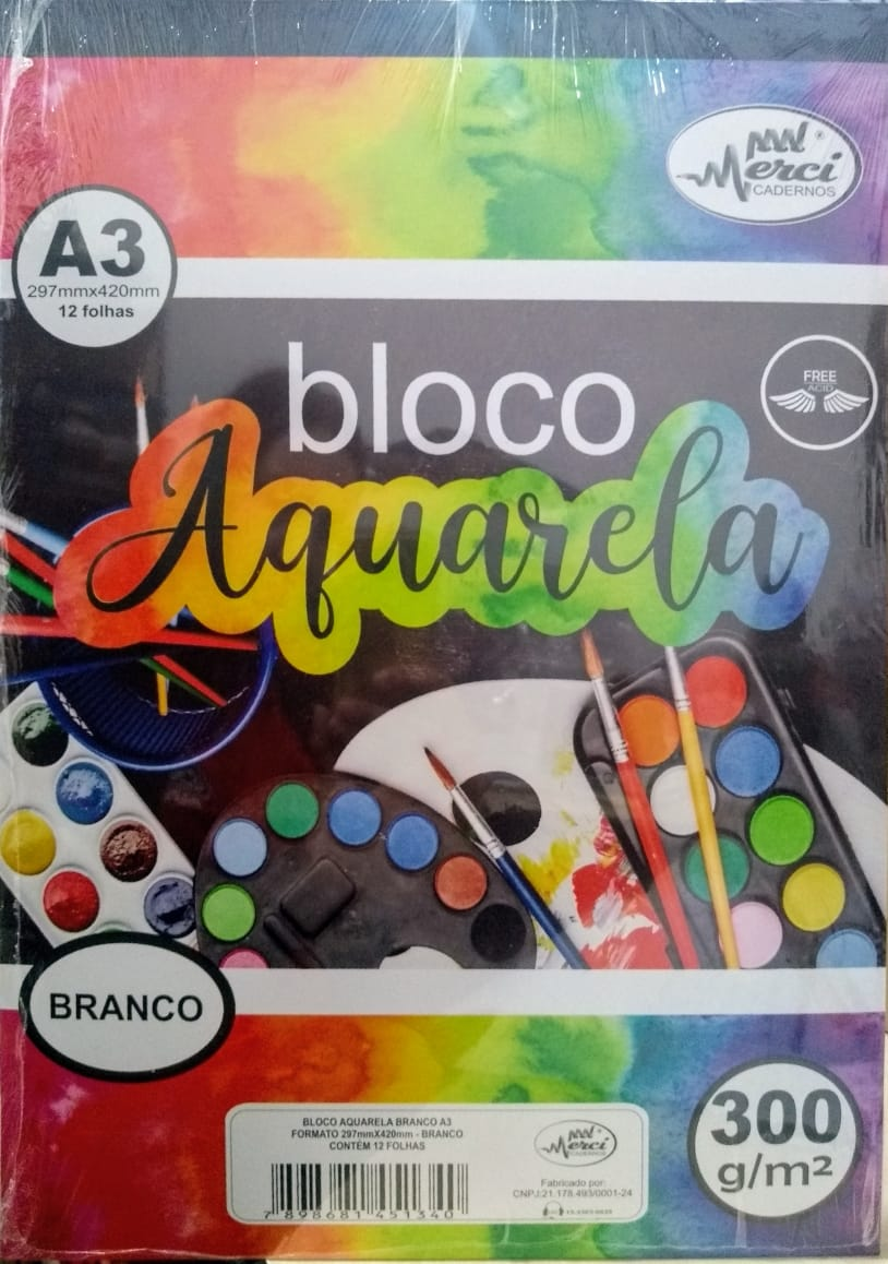 Bloco Aquarela Branco A3 300g/m² c/ 12 Folhas - Merci