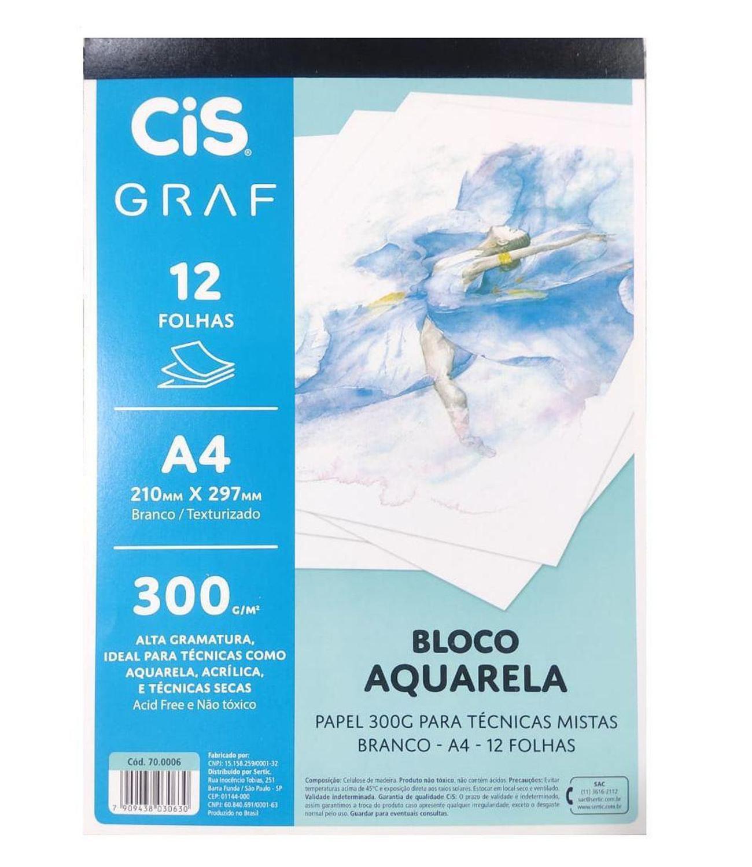 Bloco Aquarela Papel A4 300g/m² c/ 12 folhas - CIS GRAF