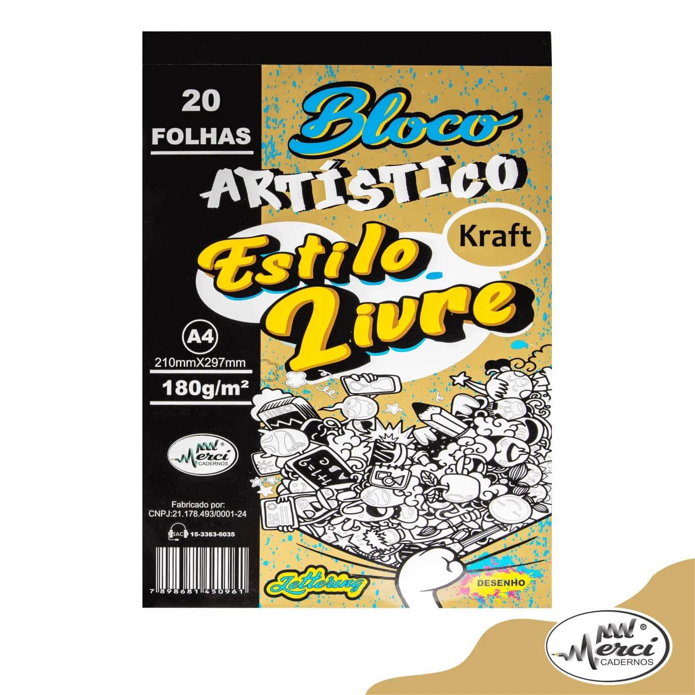 Bloco Artistico Estilo Livre Kraft A4 180g/m² c/ 20Folhas - Merci