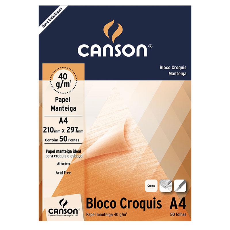 Bloco Croquis Papel manteiga Linha Universitária 40g/m² A4 c/ 50 Folhas - Canson