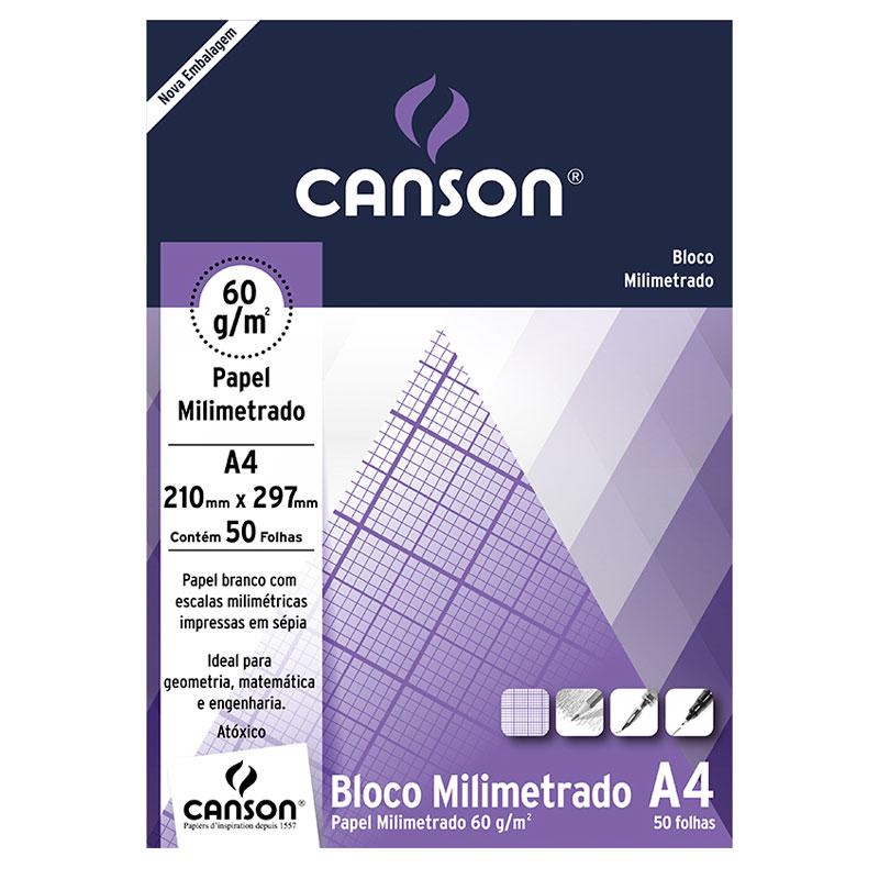 Bloco Milimetrado Linha Universitária 60g/m² A4 c/ 50 Folhas - Canson