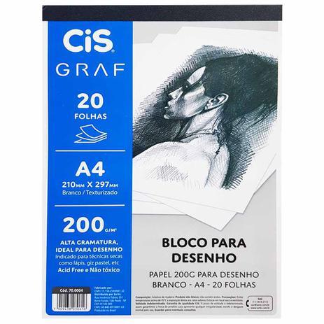 Bloco Para Desenho A4 200g/m² - CIS GRAF c/ 20 folhas