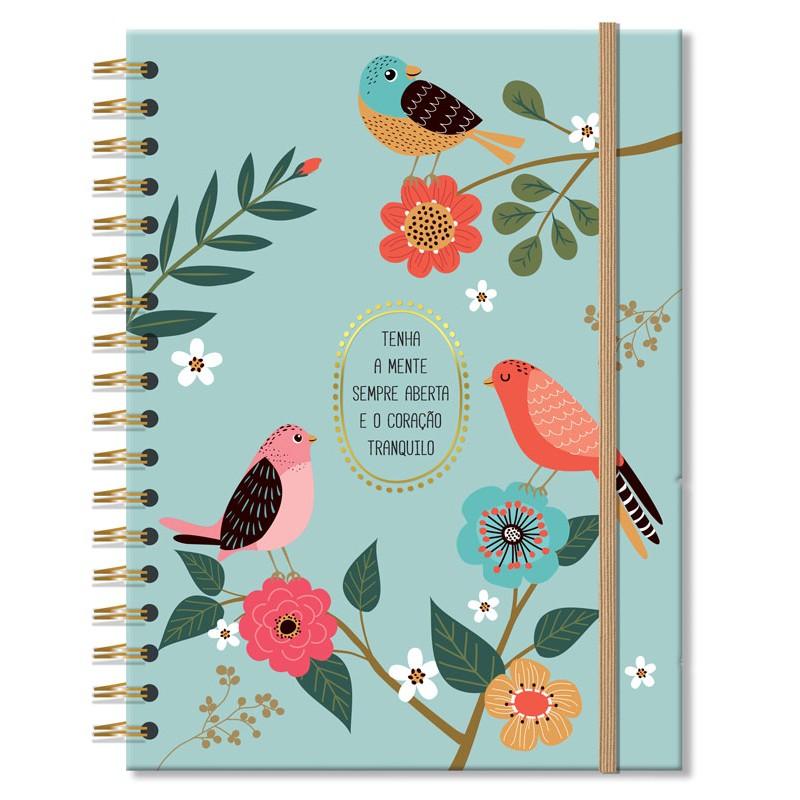Caderno colegial 200 fls. Pássaros - Fina Ideia