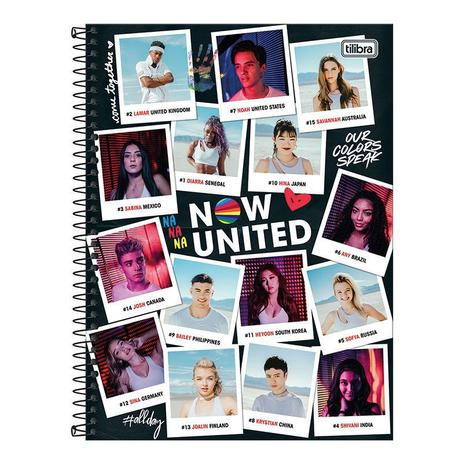 Caderno Espiral Capa Dura Universitário 1 Matéria Now United 80 Folhas