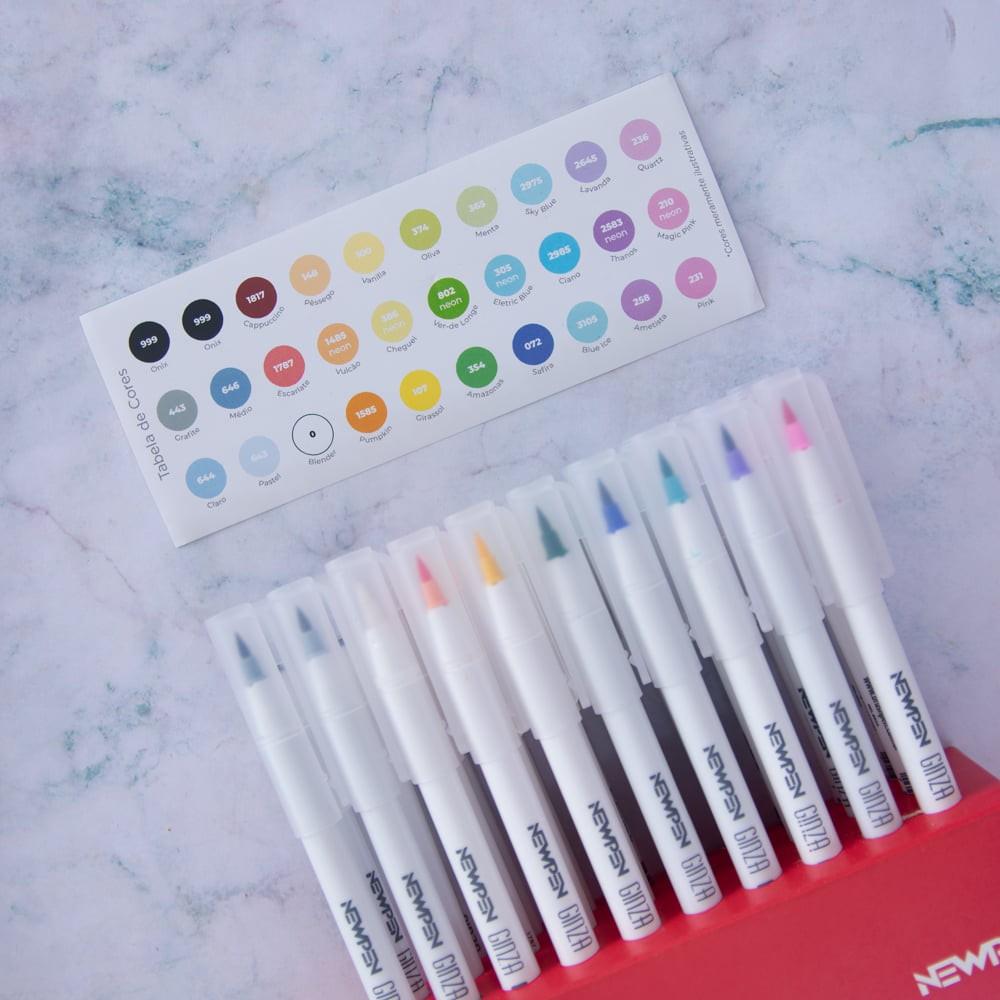 Caneta Brush pen Ginza pro NEWPEN Estojo c/ 30 Cores