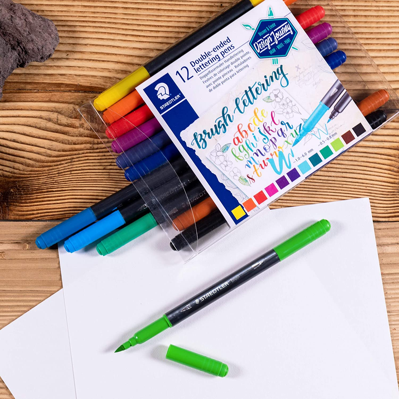 Caneta STAEDTLER Brush Lettering Ponta Dupla c/ 12 cores