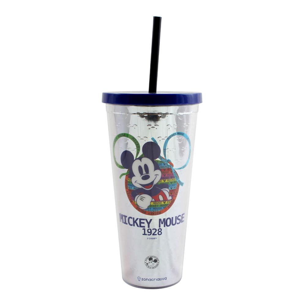 Copo Canudo Metálico Mickey 90 Anos - 650 Ml