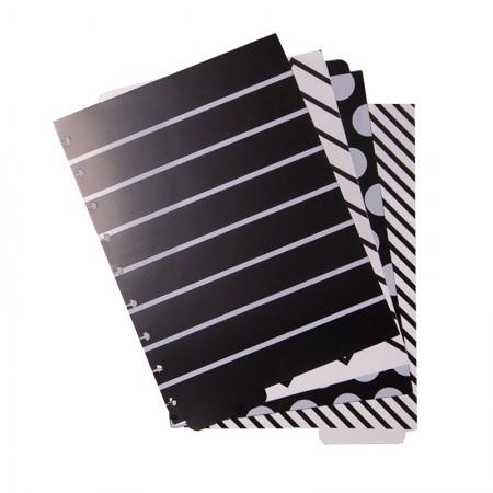 Divisória especial P&B com 4 abas estampadas - Caderno Inteligente