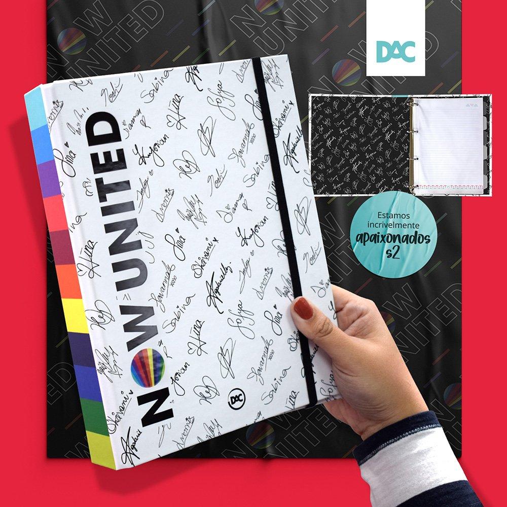 Fichário Colegial Mini 1/4 Fechamento de Elástico c/ 48 folhas Now United 4 argolas - DAC