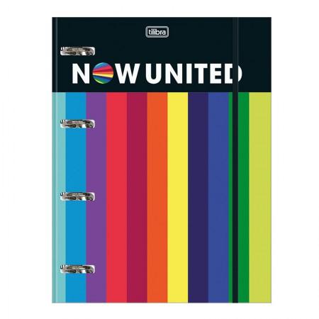 Fichário Universitário com Elástico c/ 80 folhas Now United 4 argolas - Tilibra