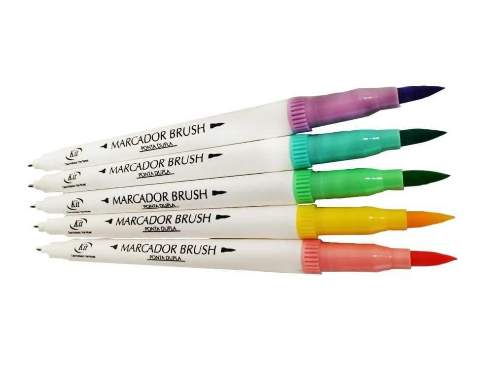 Marcador Kit Brush Ponta Dupla c/ 4 Cores Tons Pastel