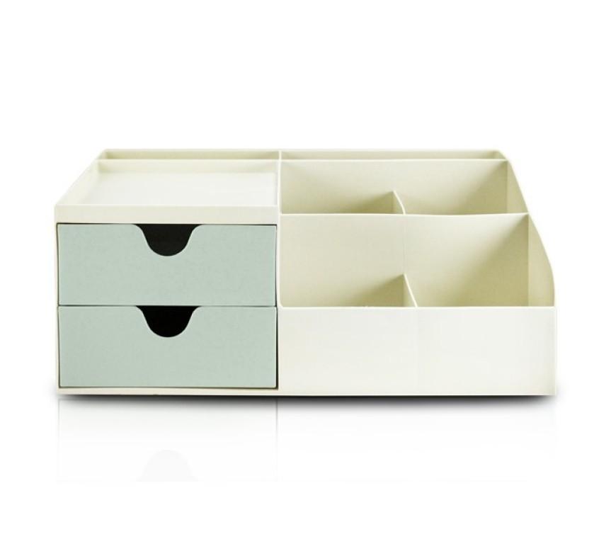 Organizador de Mesa Multiuso com 2 Gavetas Grande Bege e Azul/Rosa/Verde - Jacki Design
