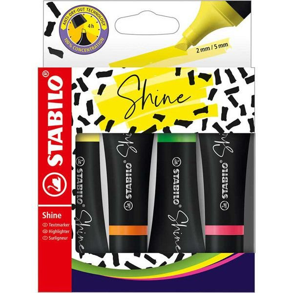 Pincel marca texto 4 cores sortidas Shine - Stabilo