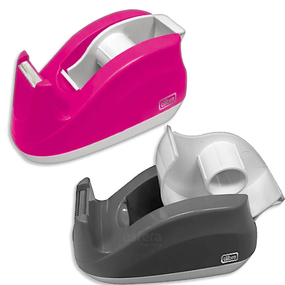 Suporte para fita adesiva escritório rosa neon - Tilibra
