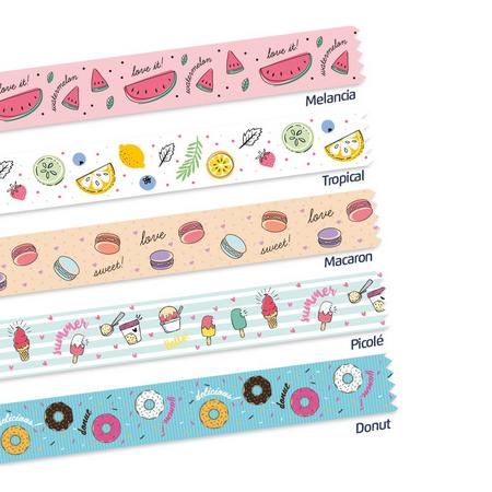 Washi Tape Food Trends 5mx15mm c/5unid LeoArt - Leonora