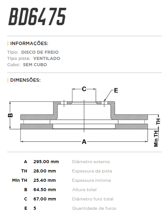 Disco de freio dianteiro ventilado - PAR - 295mm - Mercedes C180, C200, C230, C250, C280, C300