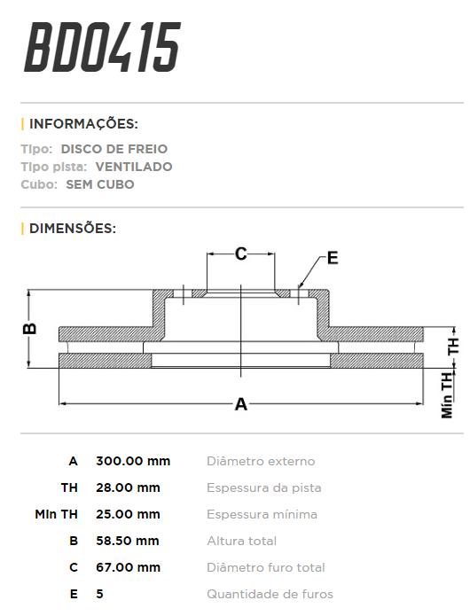 Disco de freio dianteiro ventilado - PAR - 300mm - Mercedes Vito 119 Tourer 2016 em diante