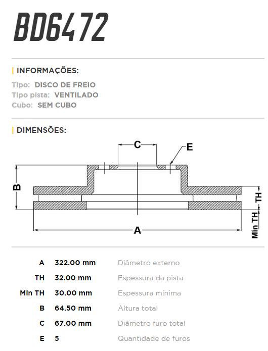 Disco de freio dianteiro ventilado - PAR - 322mm - Mercedes C280, C300, C350, E250, E350, SLK