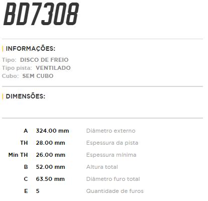 Disco de freio dianteiro ventilado - PAR - 324mm - Volvo XC60 2.0 T5 2010 à 2014, XC60 2.4 D5 2017 em diante, XC60 3.0 t6 2009 à 2010