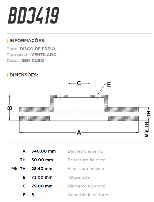 Disco de freio dianteiro ventilado - PAR - 340mm - BMW 125 2.0 2013 até 2016, 316 1.6 2014 até 2015, 420 2.0 2015 até 2016, M235i 3.0 24v 2014 até 2016