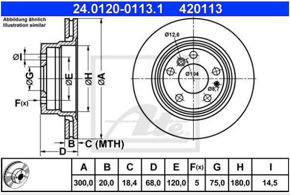 Disco de freio traseiro ventilado - PAR - 300mm - BMW 740 1992 até 1995, 750 1991 até 1994