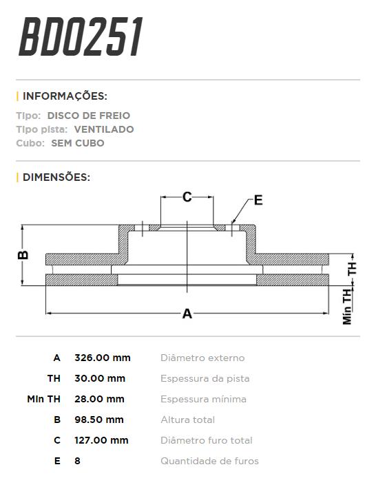 Disco de freio traseiro ventilado - PAR - 326mm - Ford F250 3.9 4x2 1998 até 2012, F250 4.2 4x2 1998 até 2012, F350 3.9 1998 até 2003