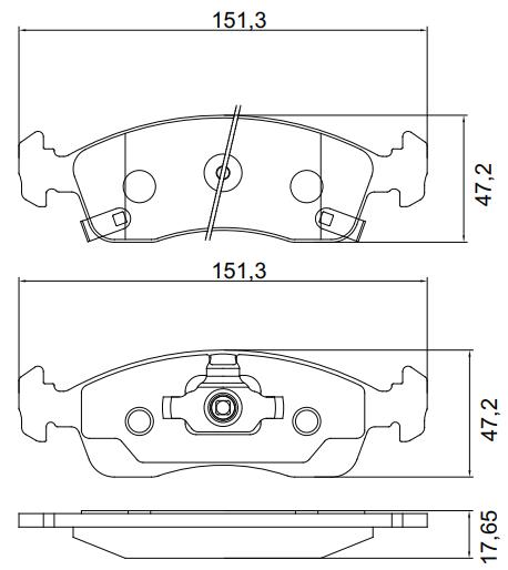 Pastilha de freio dianteira - Chevrolet Cobalt 2012 em diante, Onix 2012 em diante, Prisma 2012 em diante.