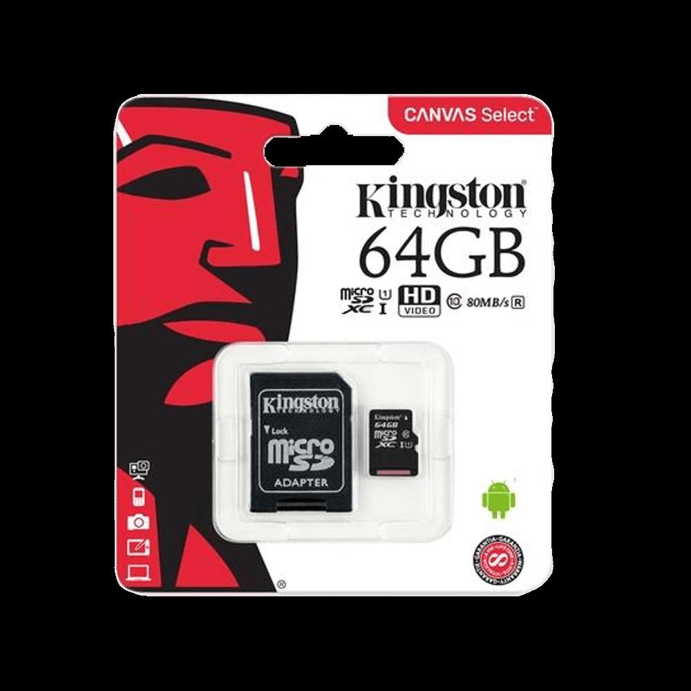 Cartão de Memória Kingston Canvas Select MicroSD 64GB Classe 10 com Adaptador - SDCS/64GB
