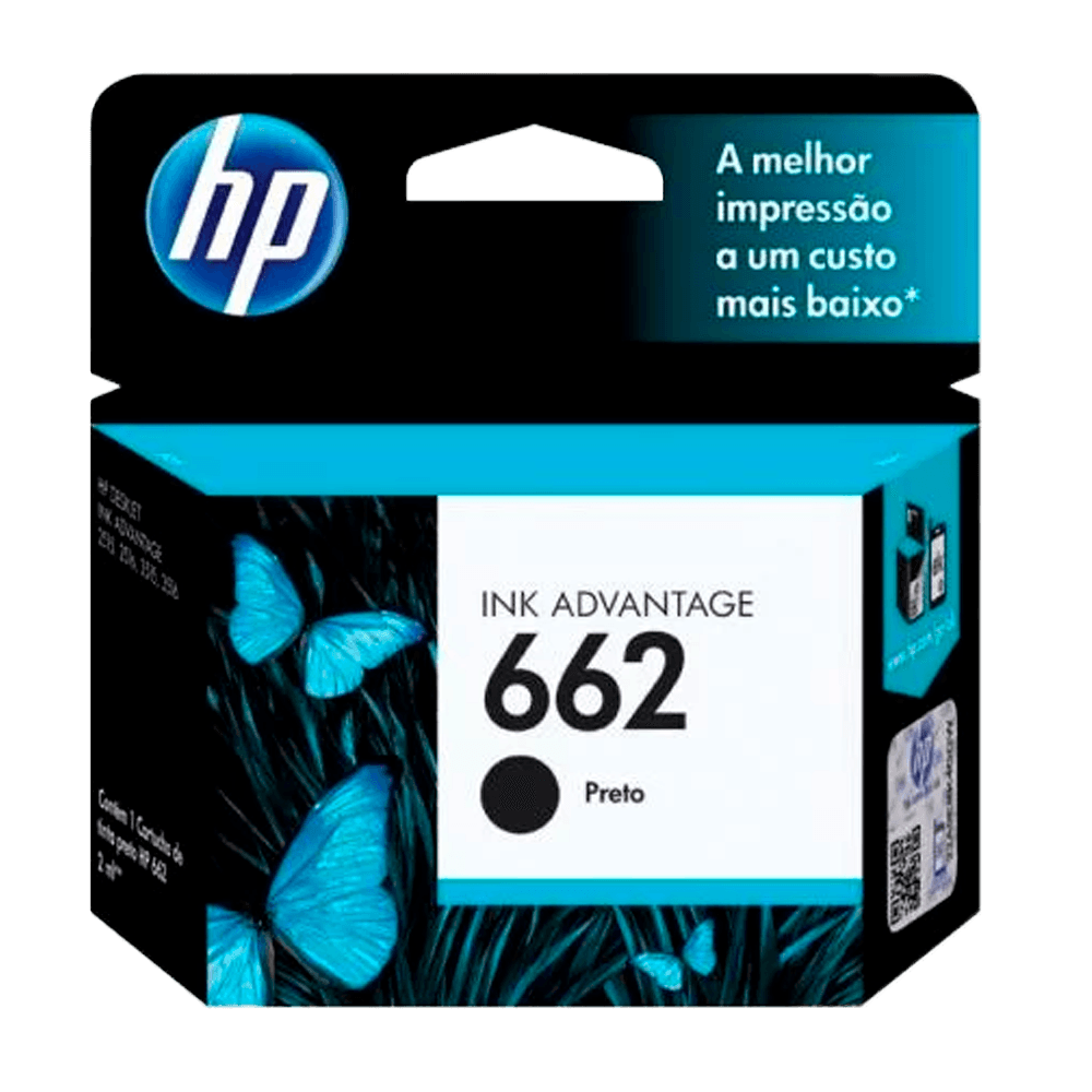 Cartucho de Tinta HP 662 Preto - Original  - CZ103AB