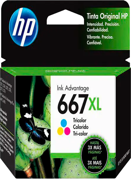 Cartucho de Tinta HP 667XL Colorido Advantage Original - 3YM80AL