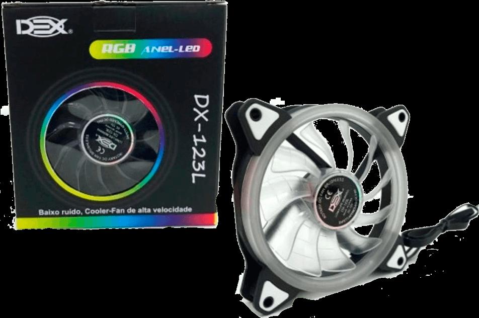 Fan Dex Dx-123l Rgb Led 3 X 120mm C/ Controle Rgb + Fita Led Rgb - DX-123L
